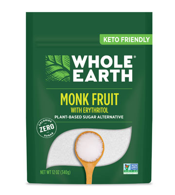 Whole Earth Monk Fruit with Erythritol Plant-based Sugar Alternative